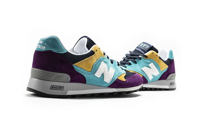 New Balance 577 Made In England Purple Blue Yellow Black Front Rear Angled