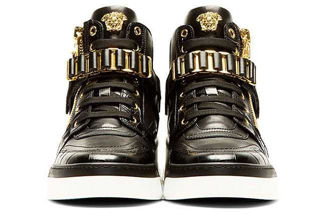 Versace Black Leather High Top Bcooc