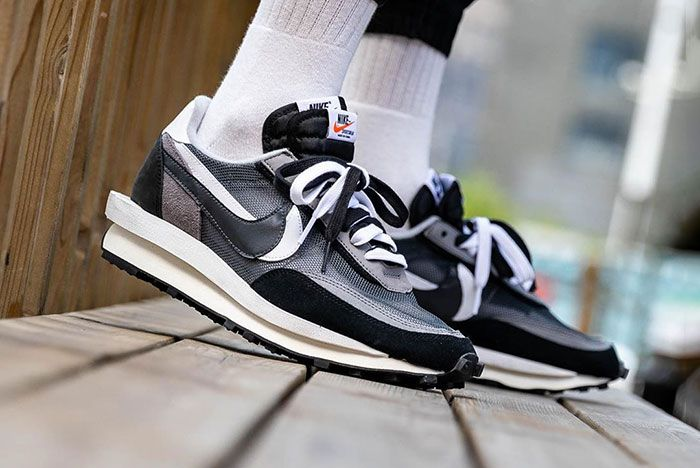Sacai Nike Ldwaffle Black White Grey On Foot6