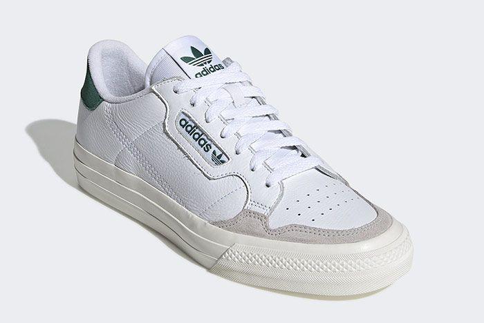 Adidas Continental Vulc White Green Toe