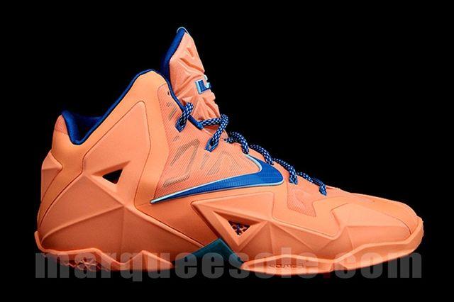Nike Le Bron 11 Orange Navy Profile
