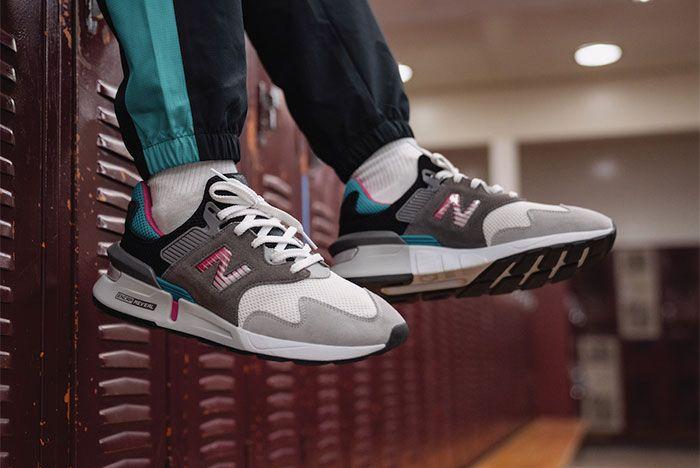 New Balance 997S Summer 2019 Aqua Pink Black On Foot Lateral Side Shot