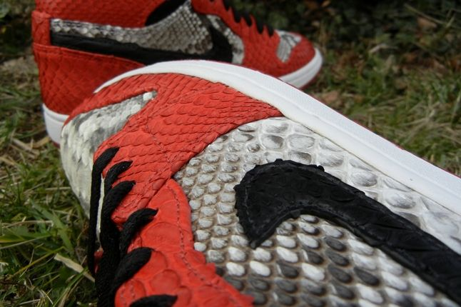 Jfb Customs Snakeskin Aj1 Red Swoosh Detail 1