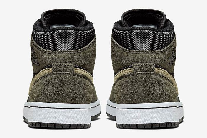 Air Jordan 1 Mid Military Olive Green Heel