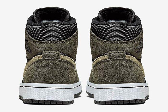 Air Jordan 1 Mid Military Olive Green Heel