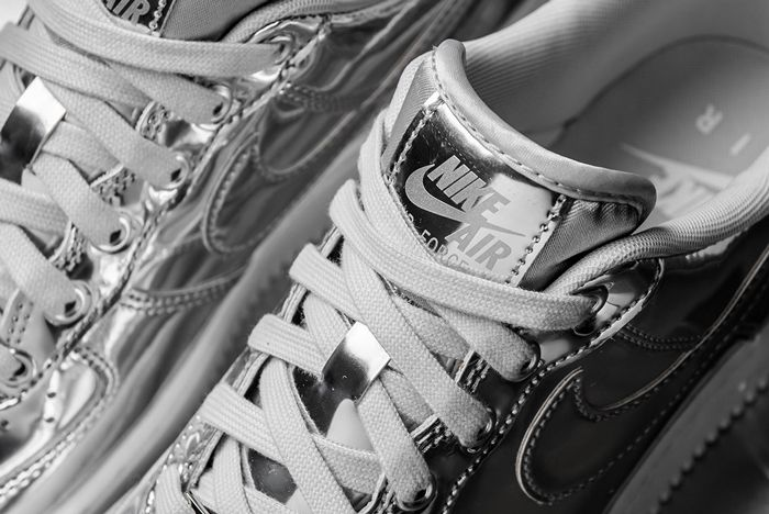 Nike Air Force 1 Liquid Metal Silver Laces Close Up