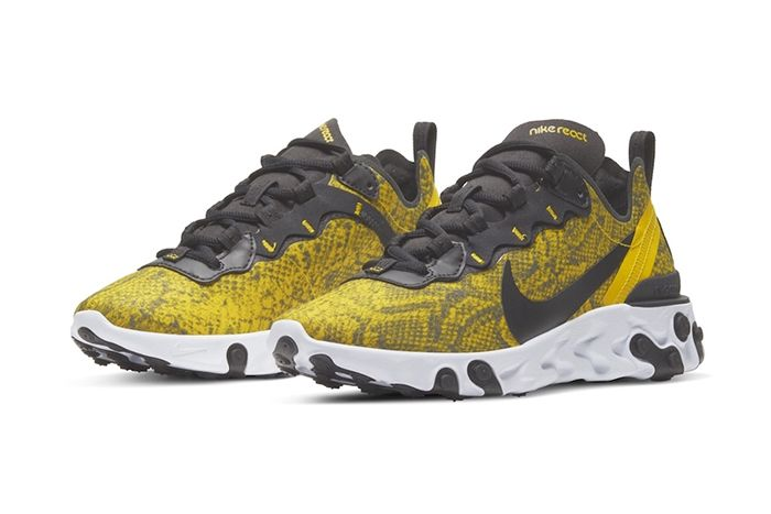 Nike React Element 55 Yellow Snakeskin Release Date Pair