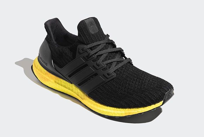 Adidas Ultra Boost Black Yellow Fv7280 Front Angle