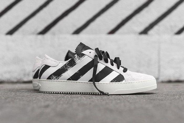Off White Striped Sneaker White Black 3