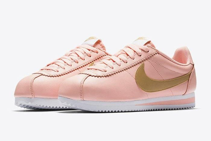 Nike Classic Cortez Pinkarctic Orange Metallic Gold Womens 1