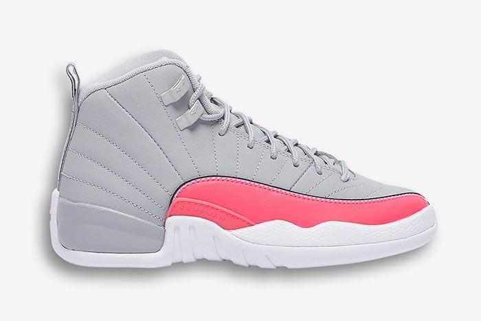 Air Jordan 12 Girls Wolf Grey Racer Pink 510815 060 1 Side