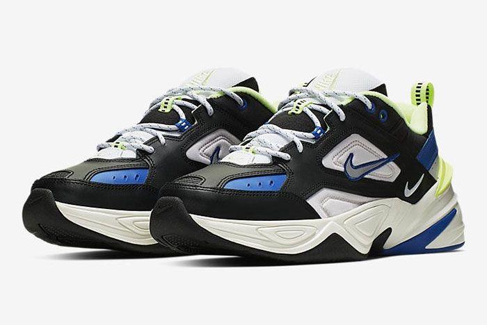 Nike M2 K Tekno Blue Black Volt Front Angle 2