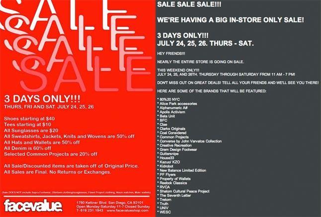 Facevalue Sale 2