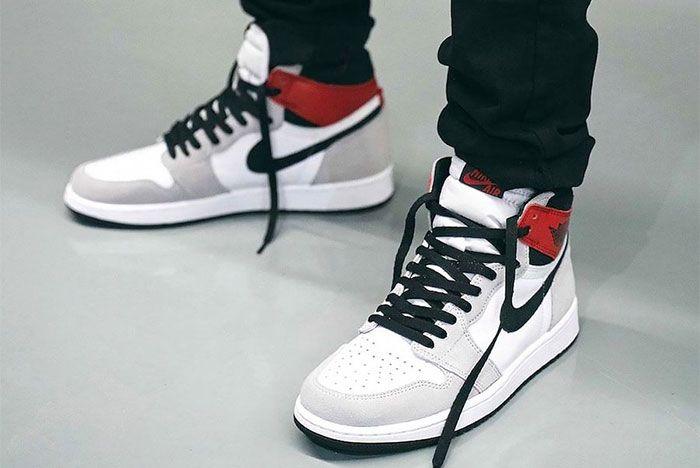 On Foot Air Jordan 1 High Og Light Smoke Grey Left 3