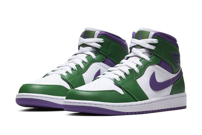 Air Jordan 1 Mid Hulk Green Purple Three Quarter Lateral Side Shot