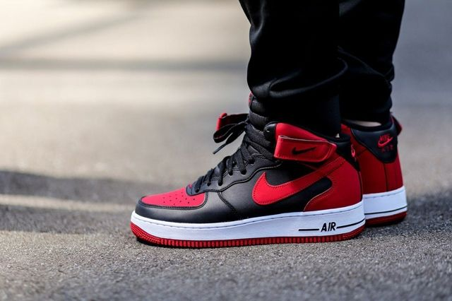 nike air force red and black high top