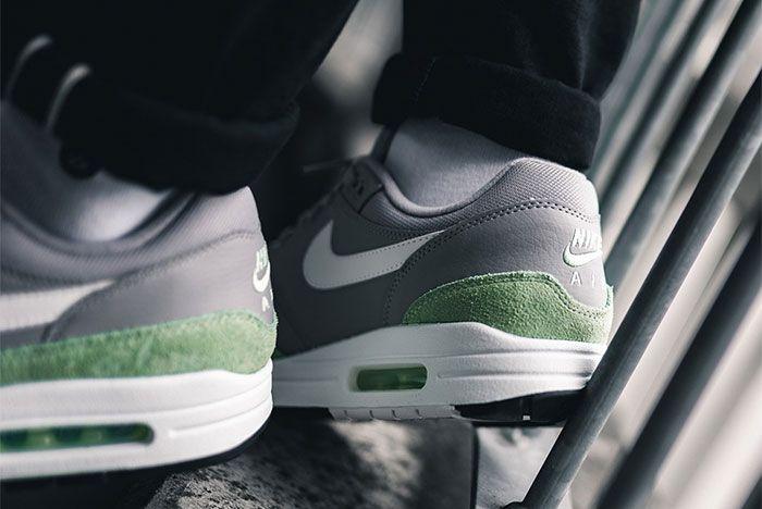 Nike Air Max 1 Fresh Mint Atmosphere Grey Ah8145 015 Heel Shot On Foot 3