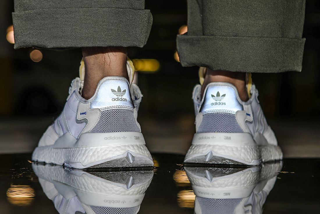 On Adidas Nite Jogger White Heel