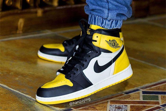 Air Jordan 1 Yellow Toe On Foot 3