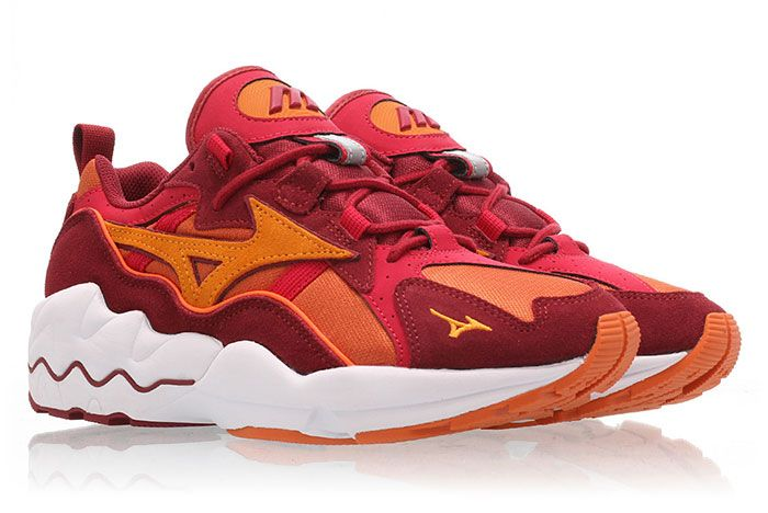 Mizuno Wave Rider 1 Pumpkin Orange Red Front Angle