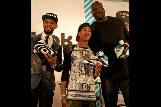 Reebok Shaq Launch Swizz Beatz Tyga And Shaq 1