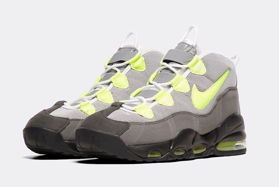 Nike Air Max Uptempo 95 Black Volt Dust Dark Pewter Front Angle
