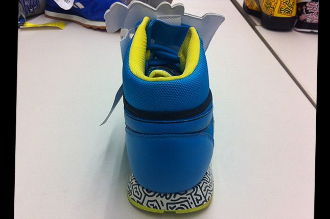 Keith Haring Reebok Cl Leather Mid Lux 12 Blue Lime Heel 1