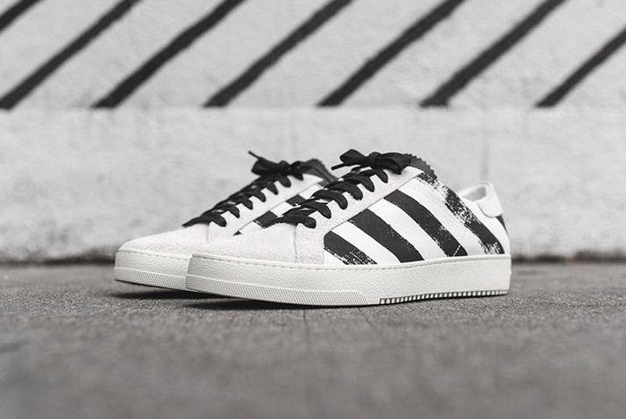 Off White Striped Sneaker White Black 2