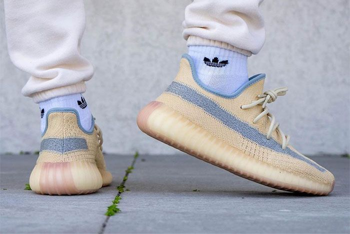 Adidas Yeezy Boost 350 V2 Linen Fy5158 On Feet Right 2