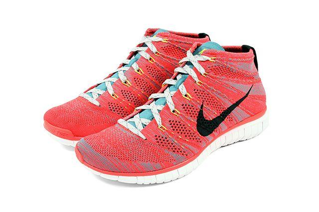Nike Free Flyknit Chukka Bright Crimson Mineral Blue