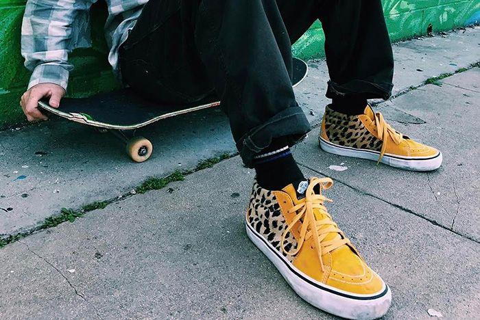 Supreme Vans Sk8 Mid Leopard Yellow On Foot 1