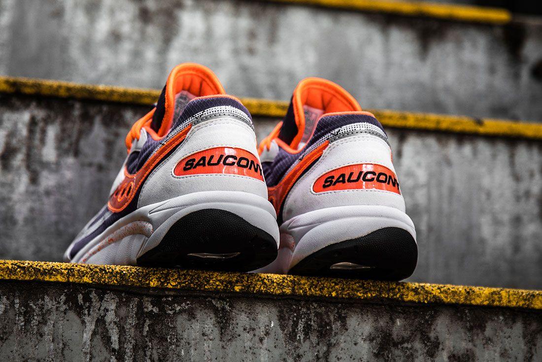 Saucony Aya White Purple Orange Heel