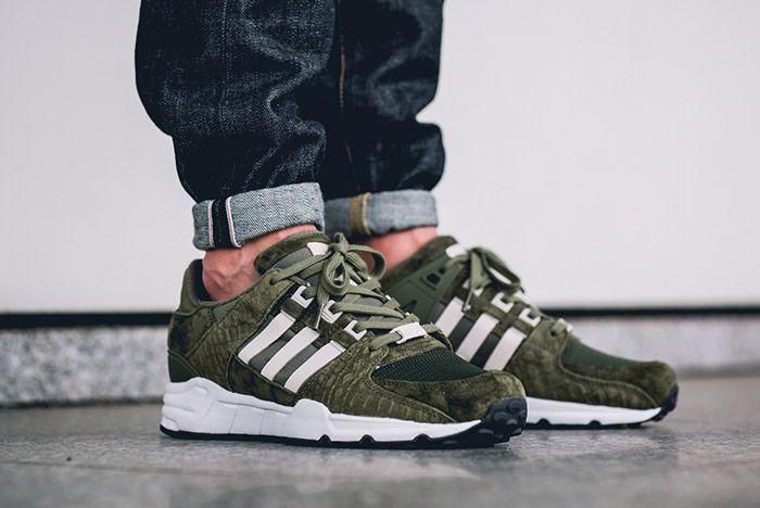Adidas Equipment Support 93 Eqt Cargo Khaki Green On Foot