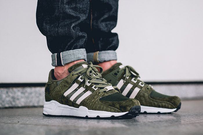 Adidas Equipment Support 93 Eqt Cargo Khaki Green On Foot