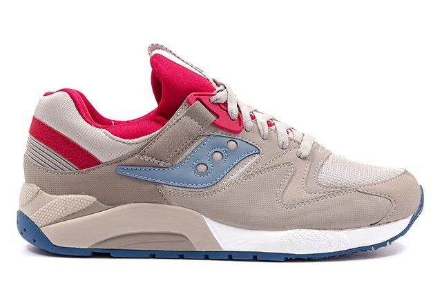 Saucony Grid 9000 Tan Grey Red 3