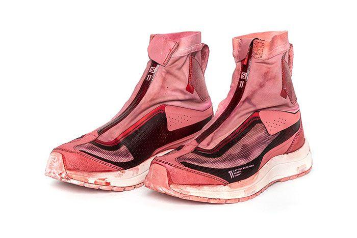 11 By Boris Bidjan Saberi X Salomon Spring Summer 2020 Footwear Red High Lateral Three Quarter Angled Side Shot