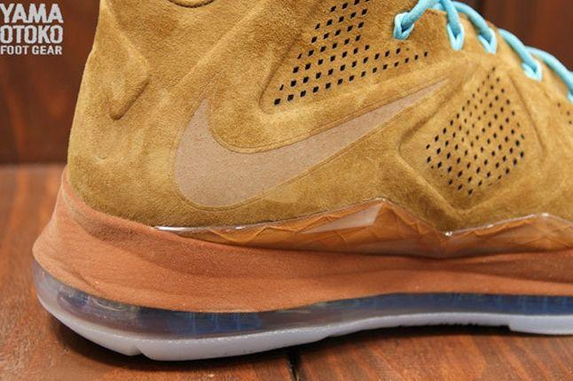 Nike Lebron X Brown Suede Heel 1
