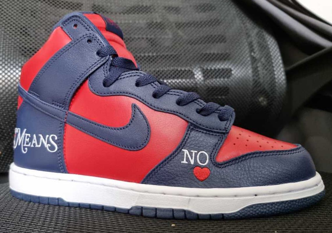 Supreme x Nike SB Dunk High By Any Means Red and navy leak