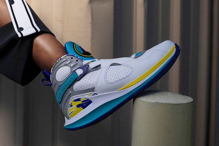 Nike Court Air Jordan 8 White Aqua On Foot