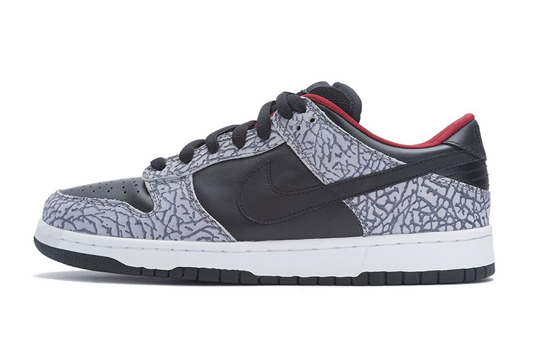 Nike Sb Dunk Low Supreme Black Cement Header Lateral Side