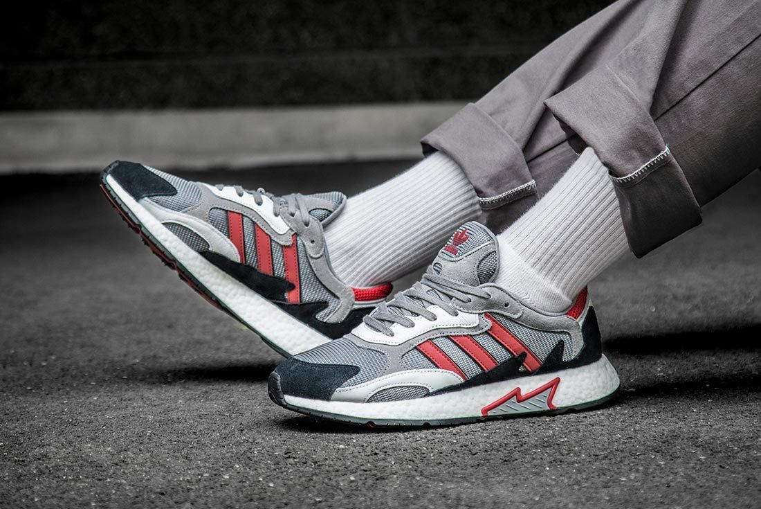 Red And Grey Adidas Tresc Run Left And Inner Shot