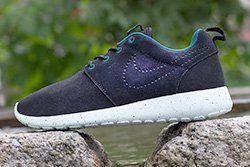 Nike Roshe Run Black Suede Perf Swoosh Thumb