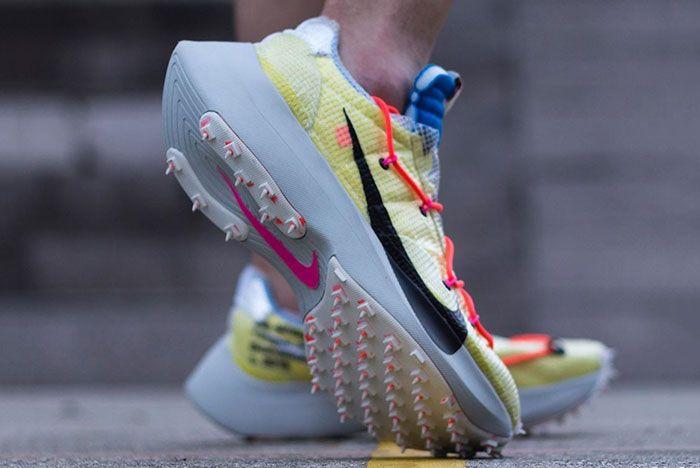 Off White Nike Vapor Street Yellow On Foot Front Angle Shot Raise