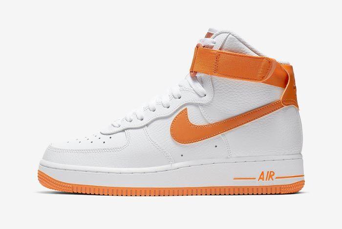 Nike Air Force 1 High White Orange Lateral