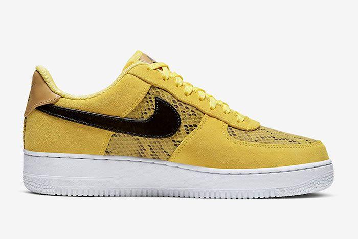 Nike Air Force 1 Low Yellow Snakeskin Bq4424 700 Medial