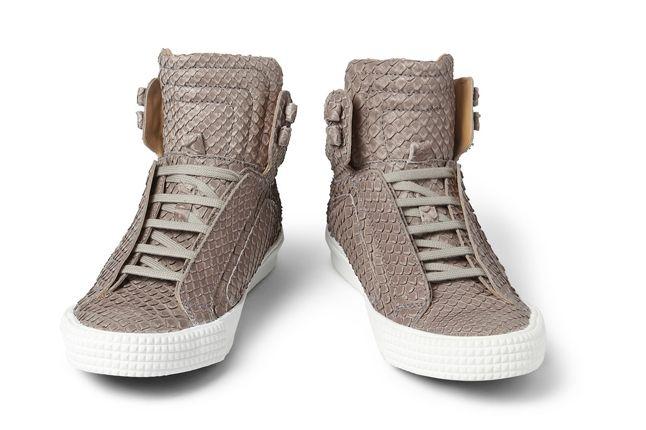 Jimmy Choo Snakeskin Leather High Top Sneaker Front 1