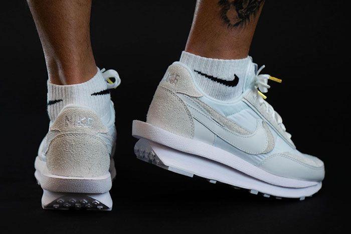 Sacai Nike Ld Waffle White Heel On Foot Shot