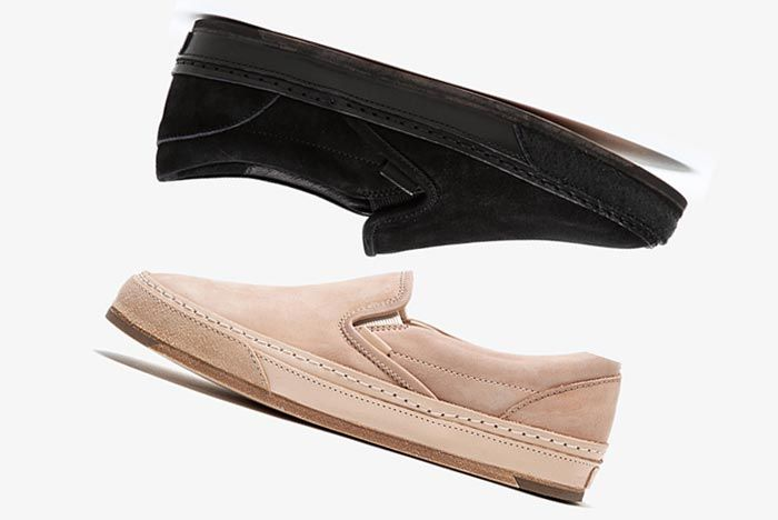 Hender Scheme Vans Slip Ons Black And Beige Side Shot