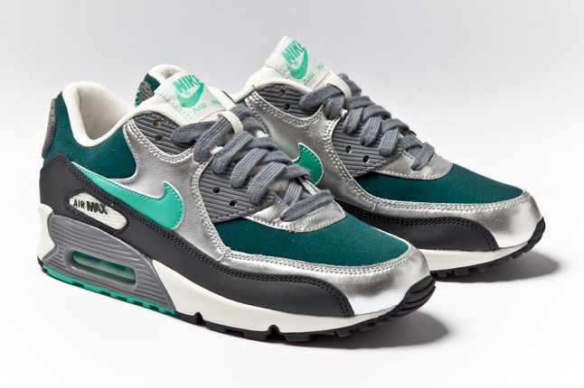 Nike Air Max 90 Womens Silver Mint Teal Pair 1