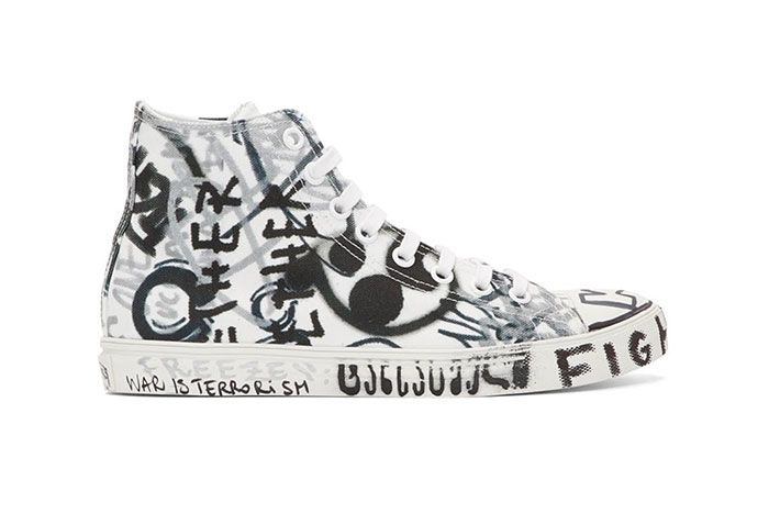 Vetements White Georgian Graffiti Sneaker Side Shot 1